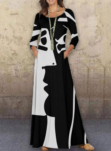 Women's Maxi Dresses Color Block Abstract Portrait 3/4 Sleeve Fit & Flare Round Neck Casual Maxi Dress