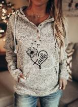 Women's Hoodies Heart-shaped Letter Print Long Sleeve Pocket Hoodie