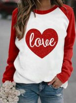 Women's Sweatshirts Round Neck Long Sleeve Love-shaped Color Block Daily Casual Sweatshirts