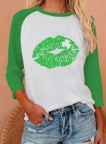 Women's T-shirts Color Block Lip Long Sleeve Round Neck T-shirt Daily T-shirt