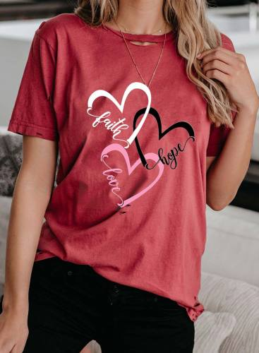 Women's T-shirts Heart-shaped Letter Print Short Sleeve Round Neck Daily T-shirt