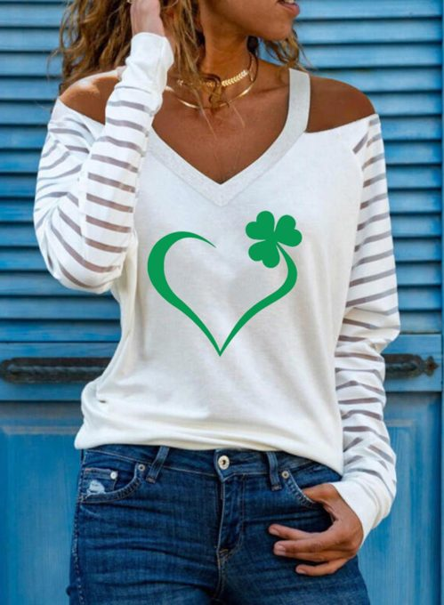Women's Pullovers Heart-shaped Cold Shoulder Striped Long Sleeve V Neck Casual Pullovers