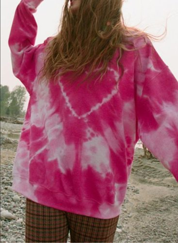 Women's Sweatshirts Tiedye Color Block Heart-shaped Print Long Sleeve Round Neck Sweatshirt