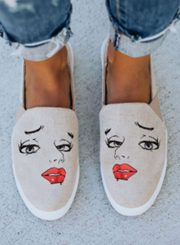 Women's Canvas Shoes Cute Portrait Casual Print Canvas Shoes