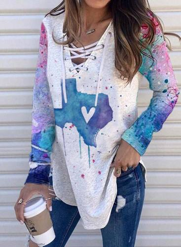 Women's Pullovers Tiedye Festival Long Sleeve Criss Cross V Neck Casual Pullover