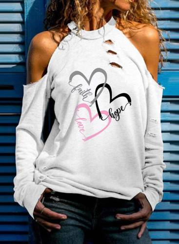 Women's Pullovers Letter Heart-shaped Long Sleeve Round Neck Cold Shoulder Casual Pullover