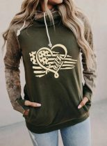 Women's Hoodies Flag Camouflage Print Long Sleeve Pocket Casual Hoodie