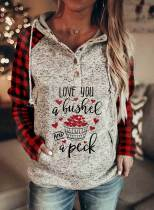 Women's Hoodies Plaid Letter Slogan Print Long Sleeve Button Pocket Casual Hoodie