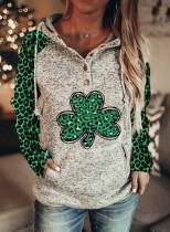 Women's Hoodies Casual Leopard Color Block Button Drawstring Long Sleeve Pocket Hoodies