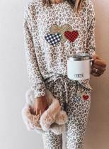 Women's Loungewear Sets Leopard Heart-shaped Print Long Sleeve Round Neck Belt 2-Piece Loungewear Set