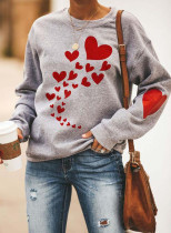 Women's Sweatshirts Heart-shaped Print Long Sleeve Round Neck Casual Sweatshirt