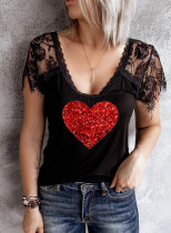 Women's T-shirts Color Block Letter Print Short Sleeve V Neck Sequin Lace Daily T-shirt