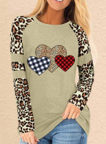 Women's T-shirts Leopard Heart-shaped Print Color Block Long Sleeve Round Neck T-shirt