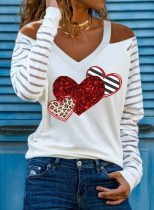 Women's Pullovers Striped Leopard Heart-shaped Sequin Long Sleeve Cold-shoulder Daily Pullover