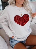 Women's Sweatshirts Solid Heart-shaped Print Long Sleeve Round Neck Daily Sweatshirt