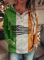 Women's Hoodies Drawstring Flag Button Long Sleeve Color Block Pocket Hoodies