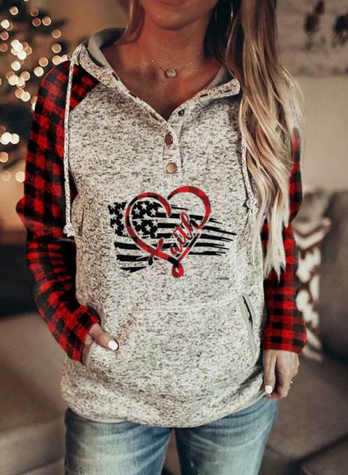 Women's Hoodies Drawstring Flag Long Sleeve Plaid Casual Hoodies With Pockets