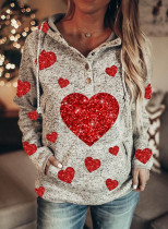Women's Hoodies Sequin Heart-shaped Drawstring Long Sleeve Color Block Pocket Daily Hoodies