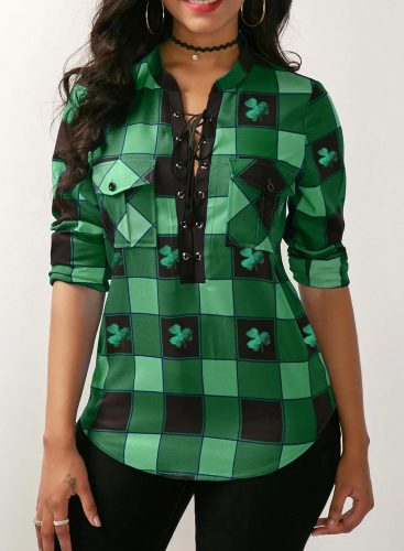 Women's Blouses Plaid Color Block Saint Patrick's Day Long Sleeve V Neck Knot Daily Blouse