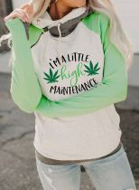Women's Hoodies Drawstring High Neck Long Sleeve Color Block Letter Casual Hoodies