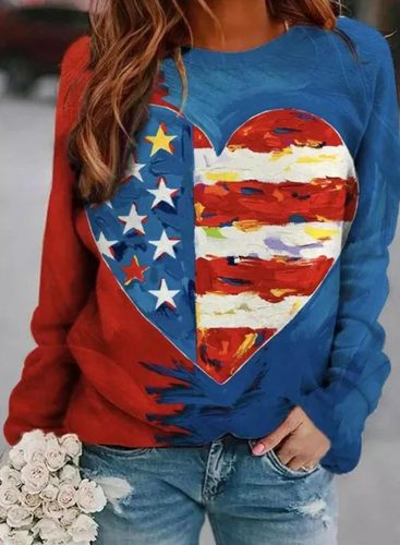 Women's Sweatshirts Color Block Flag Print Long Sleeve Round Neck Casual Sweatshirt