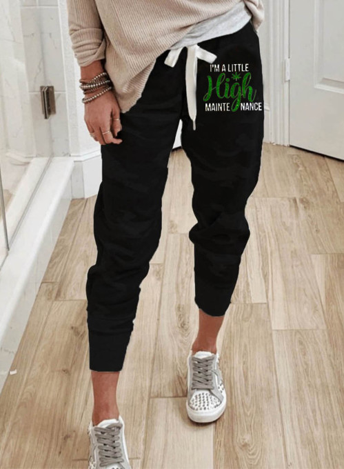 Women's Joggers Drawstring Solid Ankle-length High Waist Slim Casual Joggers