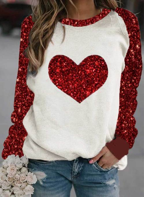 Women's Sweatshirts Round Neck Long Sleeve Color Block Sequin Heart-shaped Sweatshirts