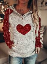 Women's Hoodies Sequins Heart-shaped Long Sleeve Hoodie