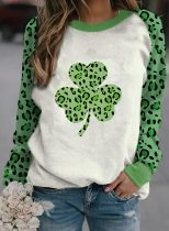 Women's T-shirts Saint Patrick's Day Leopard Letter Long Sleeve Round Neck Daily T-shirt