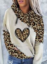 Women's Hoodies Leopard Color-block Long Sleeve Casual Pocket Hoodie