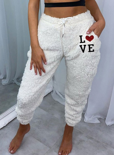 Women's Joggers Letter Heart-shaped Print Holiday High Waist Daily Full Length Pocket Joggers