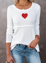Women's Sweaters Casual Solid Heart-shaped Round Neck Long Sleeve Daily Pullovers
