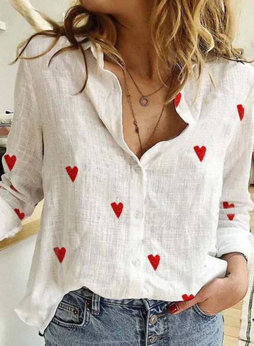 Women's Shirts Festival Heart-shaped Turn Down Collar Button Long Sleeve Daily Shirts