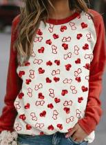Women's Sweatshirts Color Block Heart-shaped Print Long Sleeve Round Neck Casual Sweatshirt