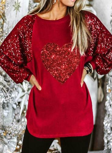 Women's Blouses Color Block Long Sleeve Round Neck Daily Casual Sequin Blouse