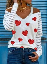 Women's Pullovers Color Block Heart-shaped Striped Long Sleeve Cold Shoulder Sequin Pullover