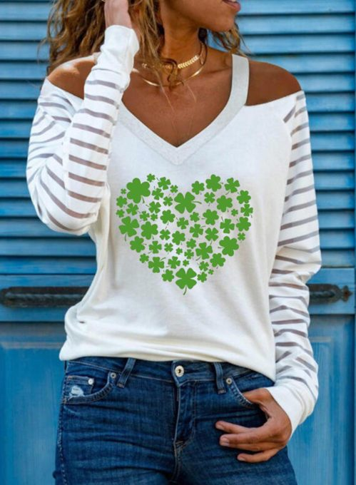 Women's Pullovers Letter Saint Patrick's Day Long Sleeve V Neck Cold Shoulder Casual Pullover