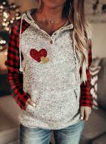 Women's Hoodies Plaid Heart-shaped Print Sequin Long Sleeve Hoodie