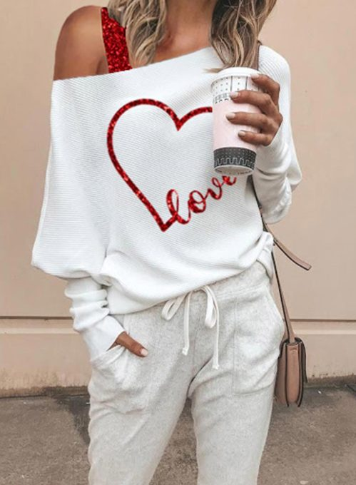 Women's Pullovers Heart-shaped Letter Sequins Long Sleeve One shoulder Daily Casual Pullover