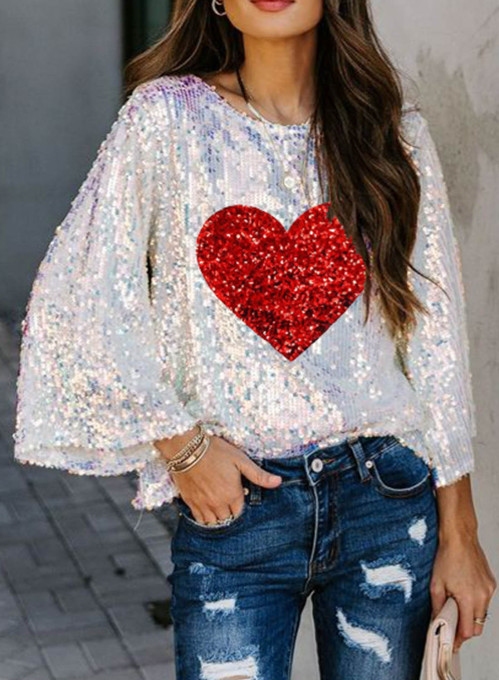 Women's Pullovers Casual Sequin Heart-shaped Color Block Long Sleeve Round Neck Party Pullovers