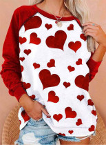 Women's Pullovers Casual Color Block Heart-shaped Round Neck Long Sleeve Daily Pullovers