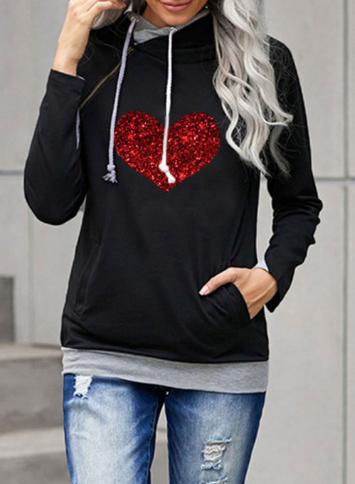 Women's Hoodies Heart-shaped Print Sequin Holiday Long Sleeve Casual Hoodie