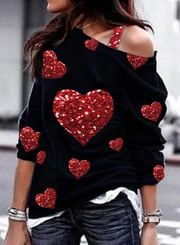 Women's Pullovers Love Pattern Sequin Asymmetrical Shoulder Long Sleeve Pullovers
