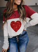 Women's Pullovers Color Block Heart-shaped Long Sleeve Round Neck Sequin Casual Pullover