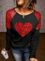Women's Pullovers Casual Color Block Heart-shaped Long Sleeve Round Neck Daily Pullovers