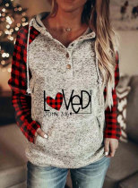 Women's Hoodies Plaid Letter Print Long Sleeve Button Pocket Drawstring Casual Hoodie