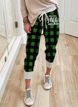 Women's Joggers Plaid Drawstring Color Block Ankle-length Mid Waist Slim Casual Joggers