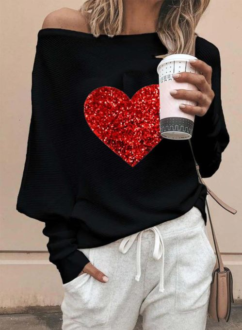 Women's Pullovers Color Block Sequin Heart-shaped Long Sleeve Off Shoulder Pullover