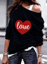 Women's Sweatshirts Round Neck Long Sleeve Off-shoulder Love-shaped Color Block Letter Daily Casual Sweatshirts