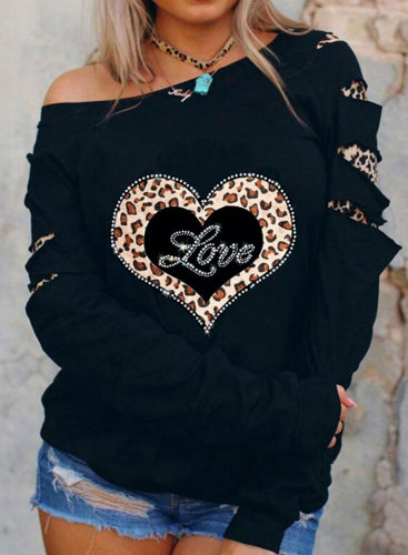 Women's Pullovers Leopard Print Long Sleeve Cold-shoulder Rhinestones Casual Pullover